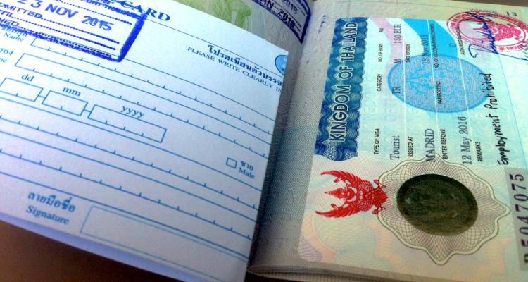 Espiritu Wanderlust - visado de turista para Tailandia - pasaporte, visado y sellos