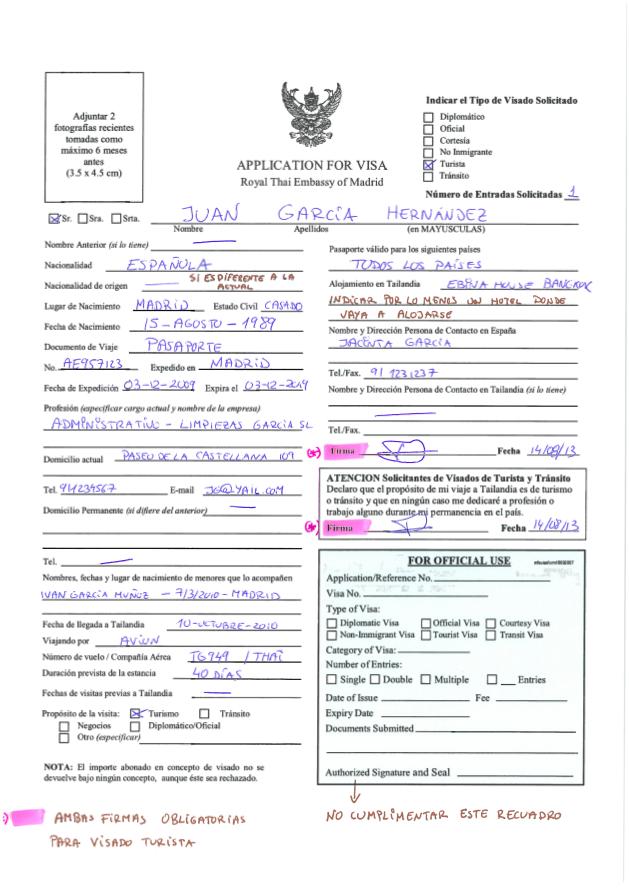 Espiritu Wanderlust - formulario visado turista para Tailandia cumplimentado